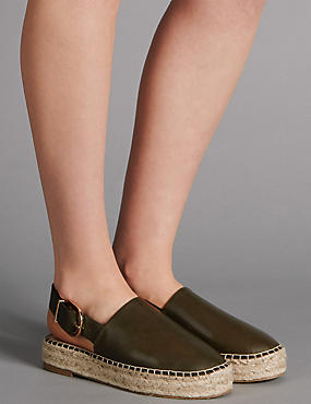 Leather Wedge Heel Espadrilles, KHAKI, catlanding