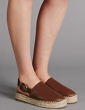 Leather Wedge Heel Espadrilles, TAN, catlanding