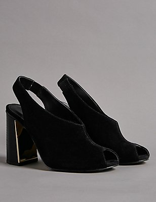 Leather Metal Heel Slingback Court Shoes, BLACK, catlanding