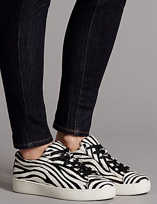Leather Lace-up Trainers, BLACK/WHITE, catlanding
