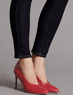 Leather Stiletto Heel Court Shoes, RED, catlanding