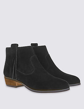 Suede Tassel Ankle Boots with Insolia®, BLACK, catlanding