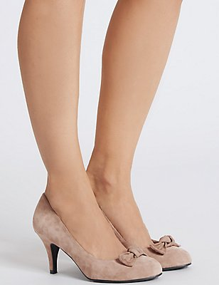 Suede Stiletto Bow Court Shoes , MINK, catlanding