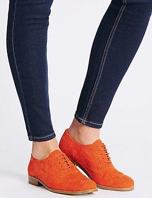 Suede Block Heel Brogue Shoes, ORANGE, catlanding