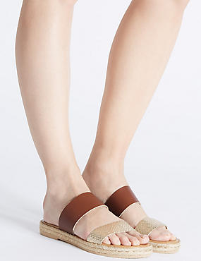 Leather Slip-on Two Band Sandals, TAN, catlanding