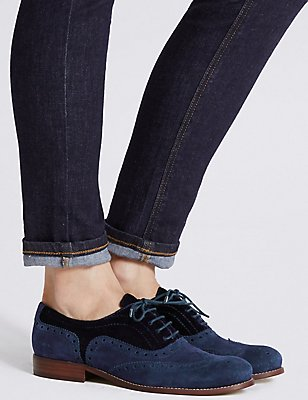 Leather Block Heel Brogue Shoes , NAVY MIX, catlanding