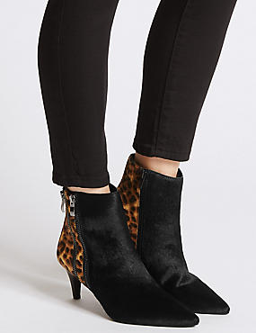 Leather Kitten Heel Double Zip Ankle Boots, BLACK MIX, catlanding