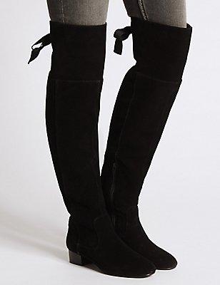 Leather Block Heel Over the Knee Boots, BLACK MIX, catlanding