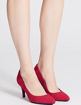 Suede Stiletto Heel Slip-on Court Shoes, RED, catlanding