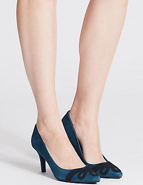 Suede Stiletto Heel Slip-on Court Shoes, BLUE MIX, catlanding