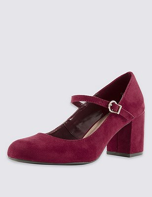 Faux Suede Block Heel Strap Court Shoes with Insolia®, BERRY, catlanding
