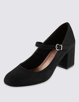 Faux Suede Block Heel Strap Court Shoes with Insolia®, BLACK, catlanding