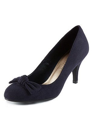 Faux Suede Bow Courts with Insolia®, NAVY, catlanding