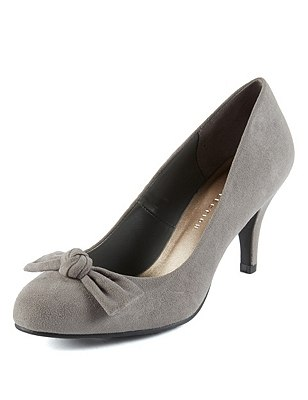 Faux Suede Bow Courts with Insolia®, LIGHT GREY, catlanding