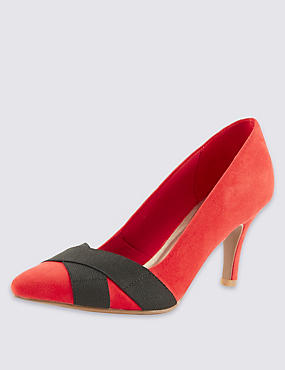 Faux Suede Pointed Court Shoes with Insolia®