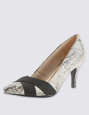 Pointed Toe Faux Snakeskin Court Shoes with Insolia®, NATURAL MIX, catlanding