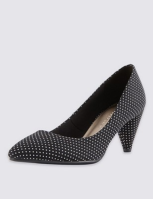 Cone Heel Spotted Court Shoes with Insolia® , BLACK MIX, catlanding