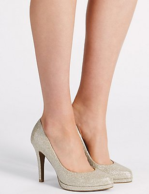 Stiletto Platform Court Shoes, METALLIC, catlanding