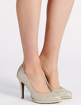 Stiletto Platform Court Shoes with Insolia®, METALLIC, catlanding