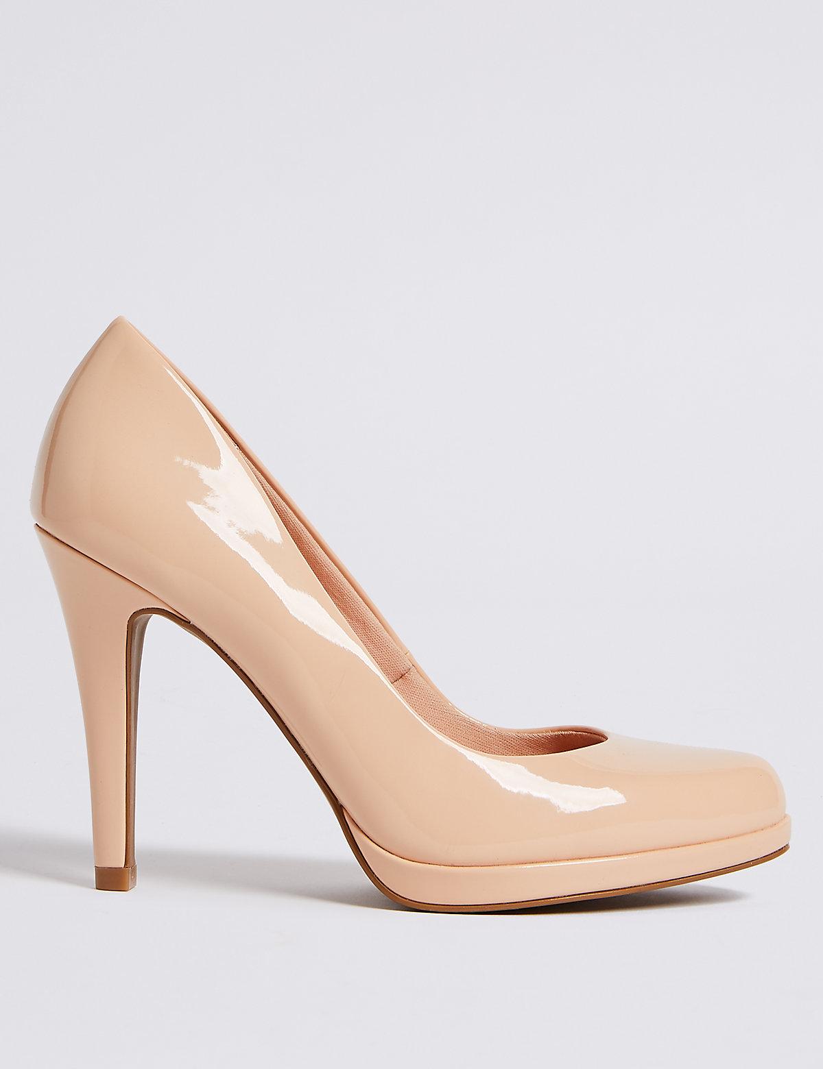 Туфли-лодочки лакированные, на высоком каблуке, карамельные