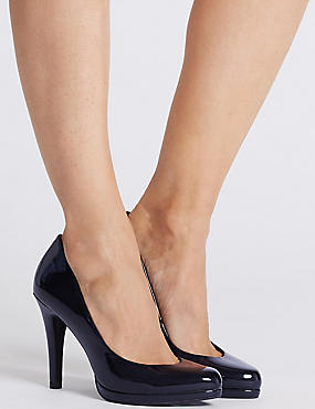 Stiletto Platform Court Shoes with Insolia®, NAVY, catlanding