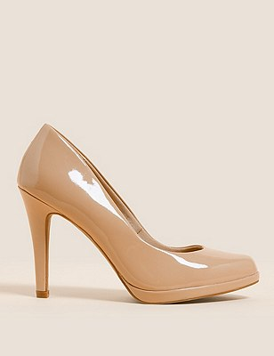 Stiletto High Heel Platform Court Shoes with Insolia®, CARAMEL, catlanding