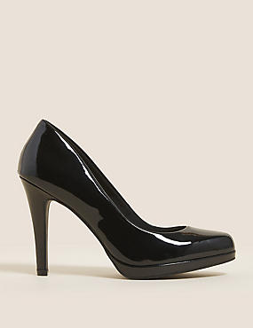 Stiletto Platform Court Shoes with Insolia®, BLACK PATENT, catlanding