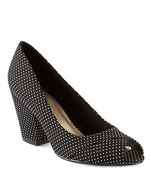 Peep Toe Court Shoes with Insolia®, BLACK MIX, catlanding