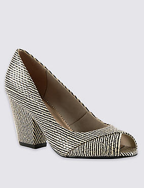 Textured Peep Toe Court Shoes with Insolia®