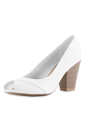 Textured Peep Toe Court Shoes with Insolia®, WHITE, catlanding