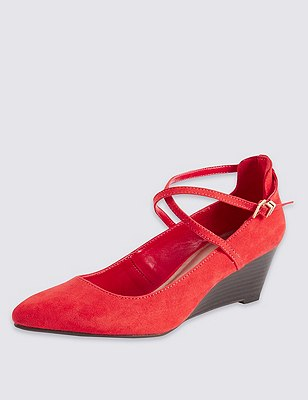 Crossover Strap Wedge Court Shoes with Insolia®, FLAME, catlanding
