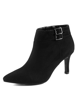 Stiletto High Heel Double Buckle Shoe Boots with  Insolia®, BLACK, catlanding