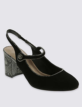 Faux Suede Slingback Dolly Court Shoes with Insolia®