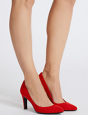 Stiletto Pointed Court Shoes, RED, catlanding