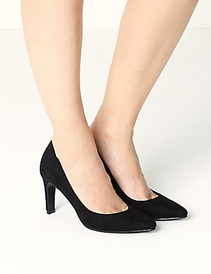 Stiletto Pointed Court Shoes, BLACK, catlanding