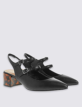 Double Strap Sling Court Shoes with Insolia®, BLACK MIX, catlanding