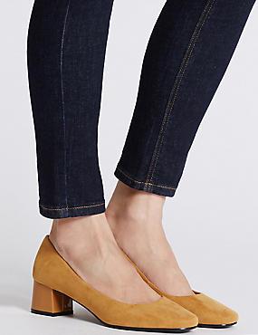 Block Heel Court Shoes, OCHRE, catlanding
