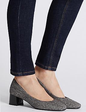 Block Heel Court Shoes, GREY MIX, catlanding