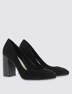 Flared Heel Court Shoes with Insolia®, BLACK, catlanding