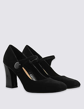 Square Toe Button Dolly Court Shoes with Insolia®, BLACK, catlanding