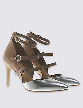 Multi Strap Pointed Court Shoes with Insolia®, MINK MIX, catlanding