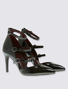 Multi Strap Pointed Court Shoes with Insolia®, BLACK MIX, catlanding