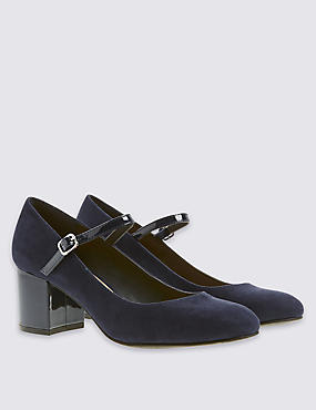 Block Heel Buckle Court Shoes with Insolia®, NAVY, catlanding