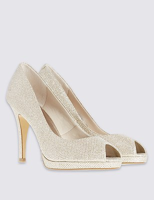 Peep Toe Stelitto High Heel Court with Insolia®, METALLIC, catlanding