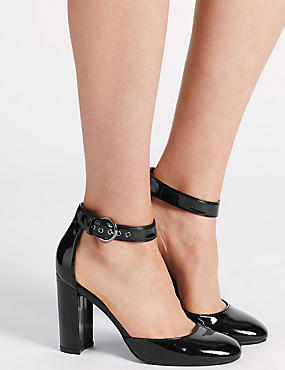 Block Heel Buckle Two Part Court Shoes, BLACK, catlanding