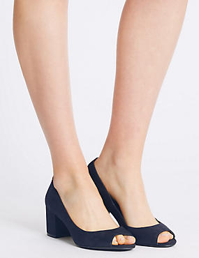 Block Peep Toe Court Shoes with Insolia®, NAVY, catlanding