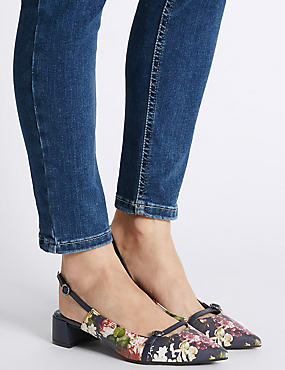 Block Heel  Buckle Slingback Court Shoes, NAVY MIX, catlanding