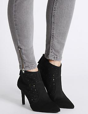 Stiletto Back Zip Laser Cut Shoe Boots, BLACK, catlanding