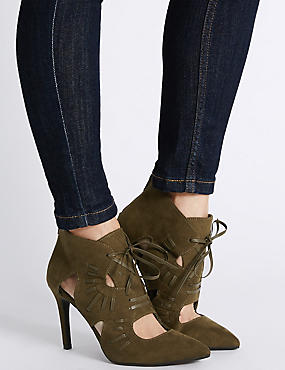 Lace-up Cut Out Boots, KHAKI, catlanding