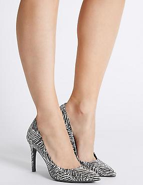 Mono Print Stiletto Court Shoes, BLACK MIX, catlanding